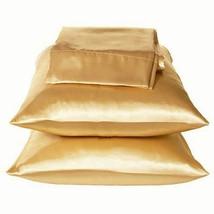 Gold/Bronze Lingerie Satin Bedding Pillowcase Set King - $10.99