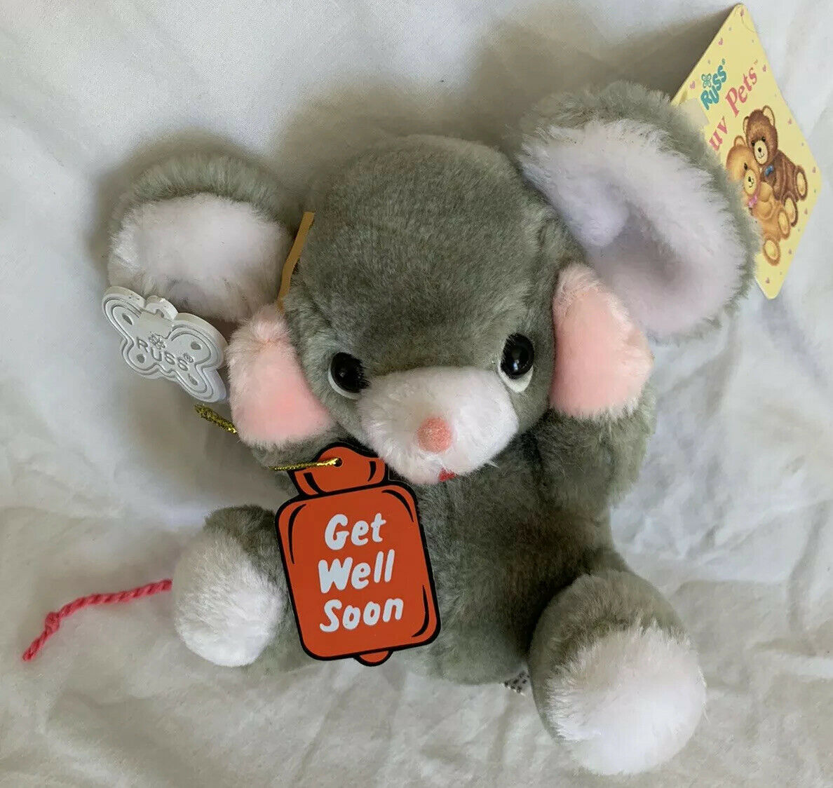 "Primary image for VERY RARE Vintage Russ Berrie Get Well Soon Mouse 8"" Plush With Tags"