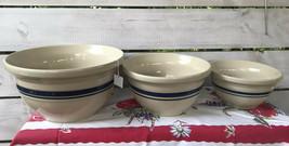 Friendship Pottery Roseville Ohio Blue Stripe Mixing Bowls Decor 6 Qt 4 ... - $126.42