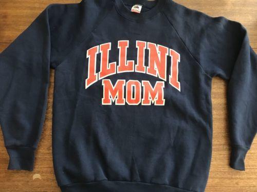 Illini Mom Vintage Sweatshirt Large Made In USA Vintage Fruit Of Loom