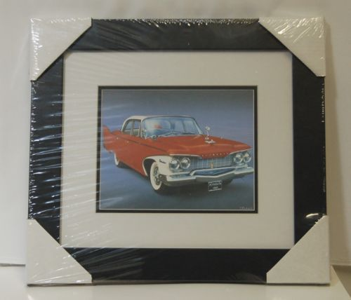 Made On Earth 6716 1960 Red Plymouth Belvedere Matted Framed Serial 3624519