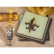 Murano Collection Fleur de Lis Design Coaster and Bottle Stopper Set - 2... - $169.95