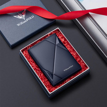 Men's Leather Wallet ultra thin vertical card holder multi function high... - $34.99