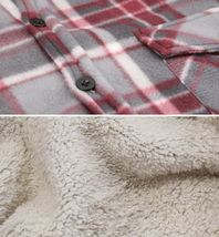 Men's Casual Flannel Button Up Plaid Fleece Warm Sherpa Lined Lightweight Jacket image 5