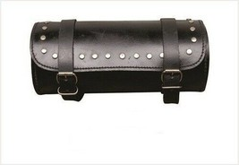 """10"""" Black Round Real Cowhide Leather Tool Bag W/ Studs For Harley Davidson - $32.68"""