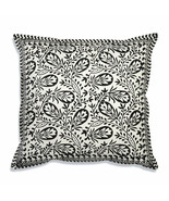 Farmhouse ANSEL COTTON THROW PILLOW Country Black White Floral Sofa Cush... - £28.34 GBP