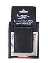 Mens Card Holder Money Clip Genuine Leather Slim Stylish Thin Magnetic - Black - $989.95