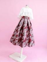 Pink Rose Flower Midi Skirt Plus Size Elegant A-line Pleated Midi Party Skirt image 3
