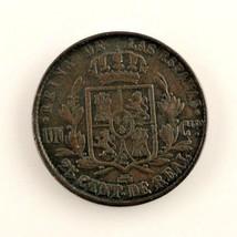 1858 Spain 25 Centimo (VF+) very Fine Plus Condition - $41.58