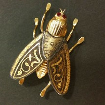Vintage Damascene Bug Brooch - $15.84