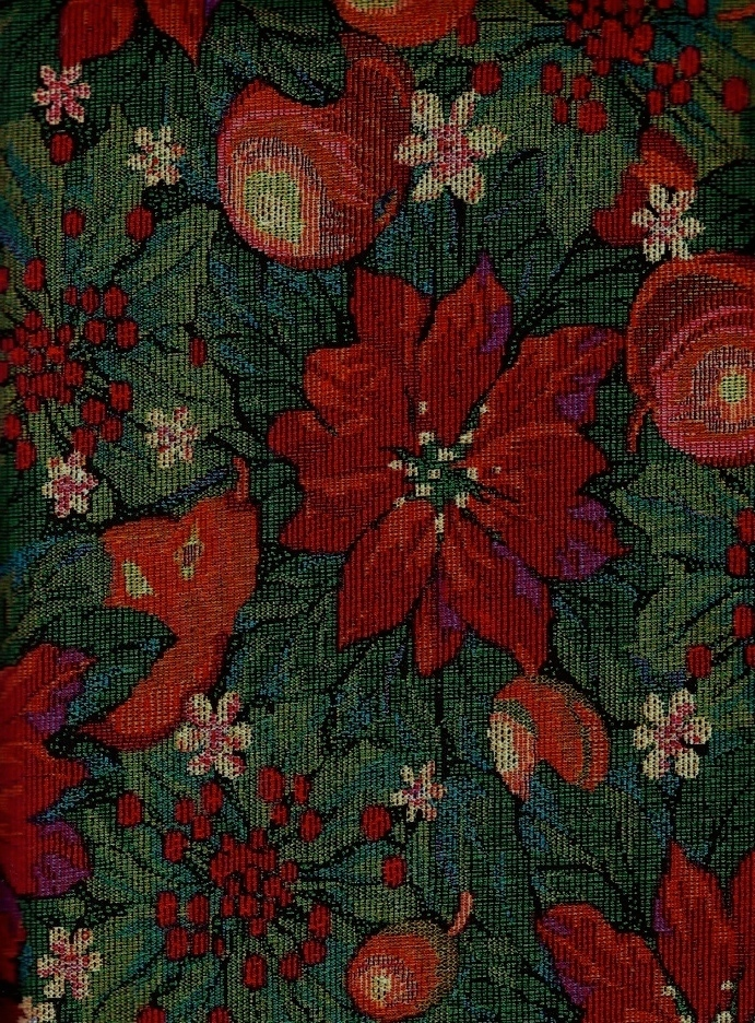 2 FQ, Very Rare Quilt Fabric,Williamsburg Christmas Memories, Poinsettia, Fruit,