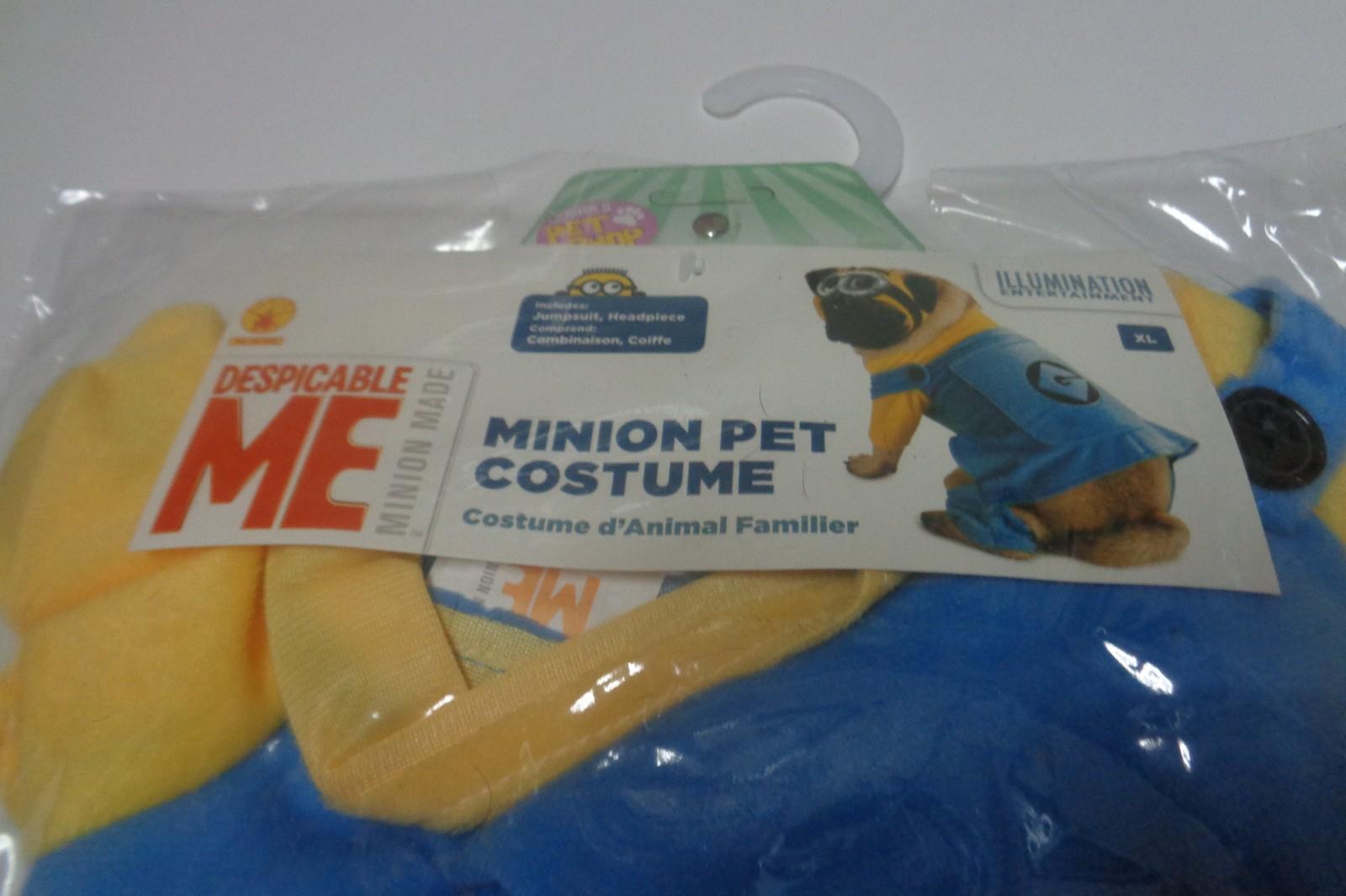 """Minion Pet Dog Costume NIP SZ XL 24"""" Jumpsuit & Head Piece Despicable Me"""