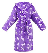 Women Hooded Printed Flannel Fleece Bathrobe Robe w/Side Pockets,Unicorn... - $29.03