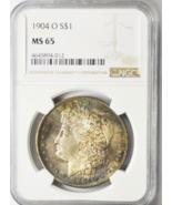 1904 O $1 Morgan Silver Dollar New Orleans NGC MS65 Rainbow Toned - $158.39