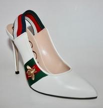 NIB Gucci Red/Green Web Sylvie Bee Slingback Heels - $445.50