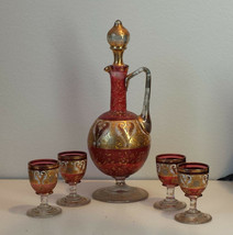 Decanter with 4 shot glasses Set Czechoslovakia Glass with Gold Painting... - $145.50