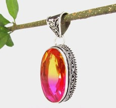 Large Oval Simulated BiColor Tourmaline Pendant Silver 925 NEW Orange Pink - $69.29