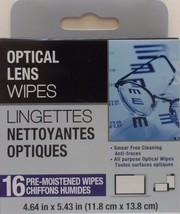 EYEGLASS MOIST CLEANING WIPES Sunglasses Binoculars Camera Lens 16 ct/pk - $2.96