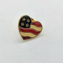 Avon Patriotic Collectible Pin Heart Shaped US American Flag Enamel Pin ... - $8.81