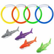 8 Pcs Underwater Swimming Pool Diving Rings, Diving Throw Torpedo Bandit... - $11.12