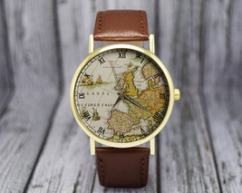 Vintage Europe Map Watch | Cartography | Ladies / Men's Watch | Travel G... - $20.00