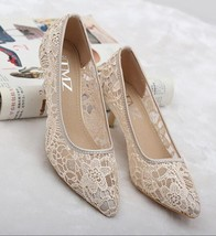 Nude See Through Lace Women Wedding shoes for bride low heels US Size 5,... - $39.99