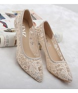 Nude See Through Lace Women Wedding shoes for bride low heels US Size 5,... - £32.57 GBP