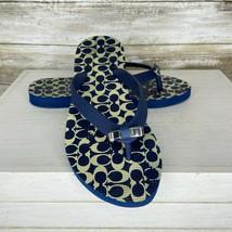 Coach Womens Amel Blue Rubber Signature C Engraved Bow Flip Flops Sandal... - $22.74