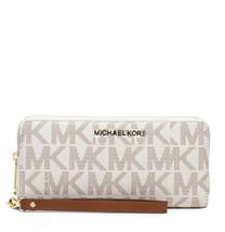 Michael Kors Jet Set Travel Continental Wallet Wristlet Signature Logo Vanilla - $81.18