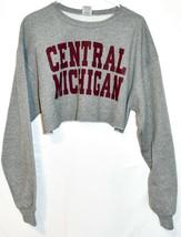 Jerzees NuBlend Central Michigan Graphic Gray & Maroon Crop Sweatshirt S... - $17.81