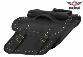 """12"""" Waterproof Real Leather Zip-Off Saddlebags W/ Studs For Harley Davidson - $101.92"""