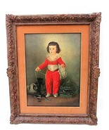 Goya's Red Boy Lithograph Antique Framed Matted Animals Pets 22 x 28 Repair - $287.09