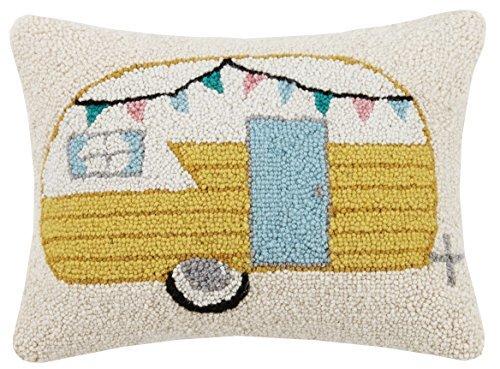 Peking Handicraft Vintage Camper Hook Pillow Multicolored
