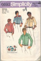 6693 Vintage Simplicity Sewing Pattern Mens Western Style Shirt Casual C... - $5.61