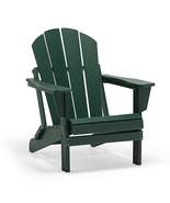 GREEN Patio Adirondack Chair Folding Outdoor Poly Seat Lounge Garden Dec... - $169.95