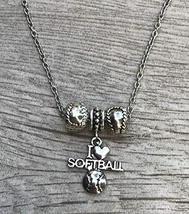 Softball Charm Necklace, Softball Gift, Girls Softball Beaded Pendent Je... - $13.50