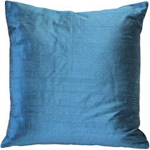 Pillow Decor - Sankara Marine Blue Silk Throw Pillow 20x20 (FB1-0001-12-20) - $44.95