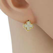UE- Gold Tone Designer Clover Earrings With Embedded Swarovski Style Cry... - $14.99
