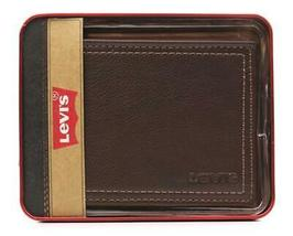 New Levi's Men's Premium Leather Credit Card Id Wallet Billfold Brown 31LV1344 image 4