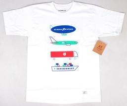 Akomplice Herren Globalization F $$$$ Geschnürt Umgebung T-Shirt Nwt Weiß