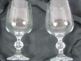 """Lot of 2 Mikasa Crystal Footed Clear Cut Stem 6 5/8"""" Water Goblets - $47.49"""