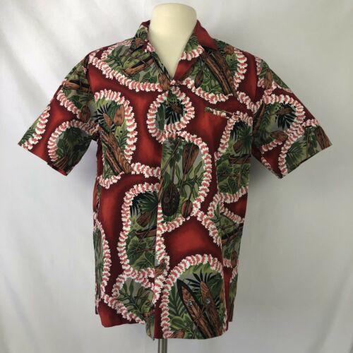 Royal Creations Hawaiian Shirt Mens Large Lei Outrigger Tropical Made In Hawaii