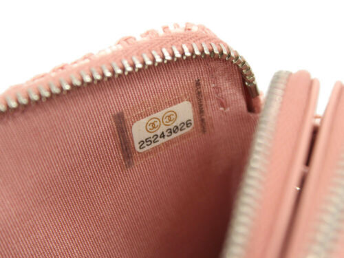 CHANEL Clutch Bag Canvas Calf Leather Pink Wallet A84415 Italy Authentic 5369119