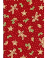 1 Fat Quarter, Sugar and Spice, Northcott, Christmas Gingerbread, Holly,... - $2.73