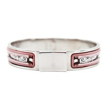 Hermes enamel PM bangle bracelet silver pink multi-color Auth - $664.84