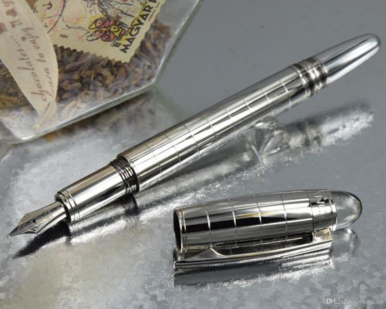 1 PCS MB Fountain Pen 14K nib 4810 TOP quality Silver checks Stationery office s