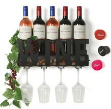 SODUKU Wall Mounted Metal Wine Rack 4 Long Stem Glass Holder & Wine Cork... - €28,09 EUR