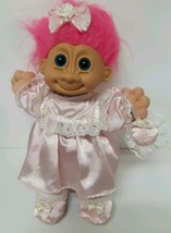 """2325 Russ Troll Girl 12"""" Vintage 80s Pink Lace Outfit Dress Shoes Hair B... - $39.59"""