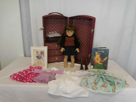 American Girl Doll Molly in her Meet Outfit +  Book + a Steamer Trunk  +... - $116.84