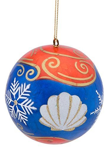 Capiz Ornament Blue and Orange with Seashells